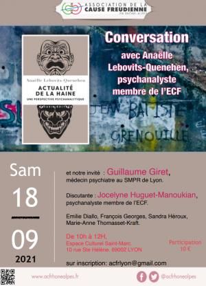 Actualité de la haine,  conversation avec Anaëlle Lebovits-Quenehen à Lyon
