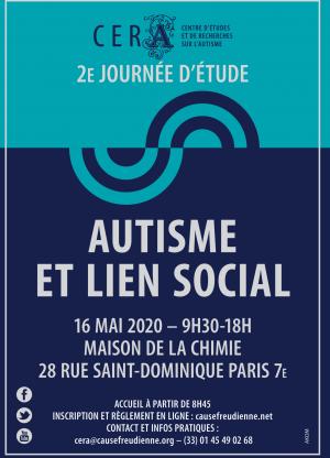 Autisme et lien social 2ème Journée d'études CERA => REPORTEE au 5 septembre 2020 ANNULÉ